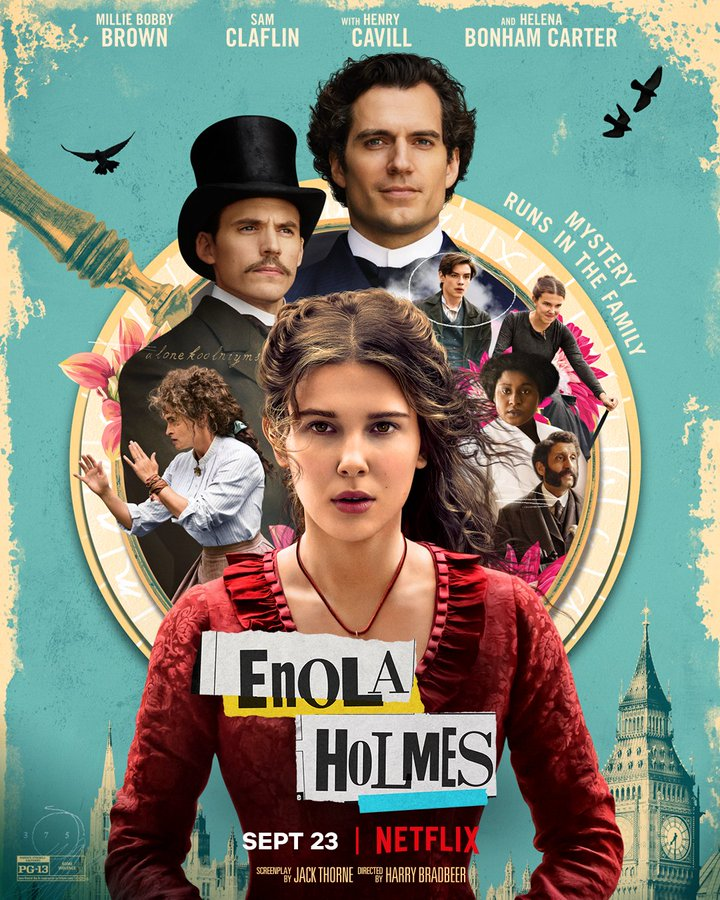 Enola Holmes Poster Featuring Millie Bobby Brown & Her Family